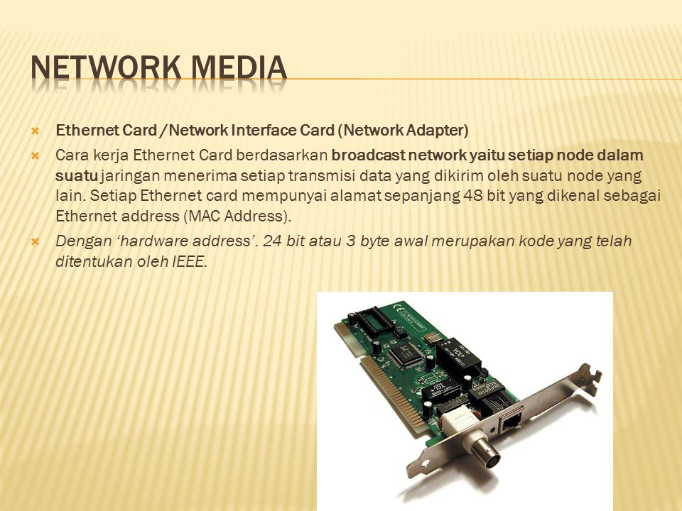 Network media Ethernet Card /Network Interface Card (Network Adapter)