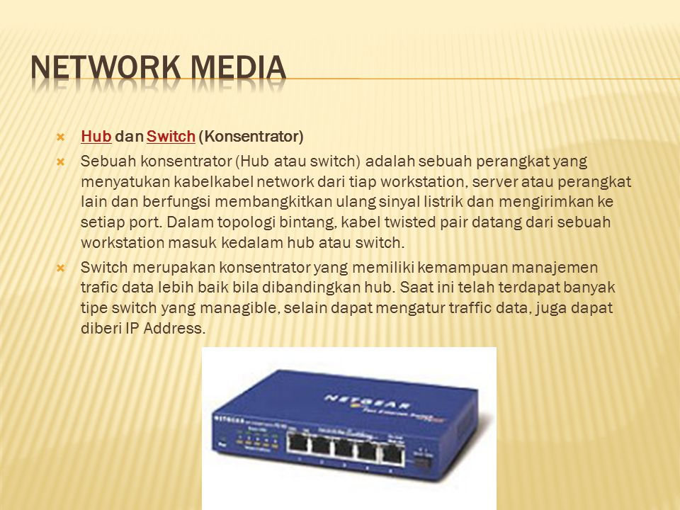 Network media Hub dan Switch (Konsentrator)