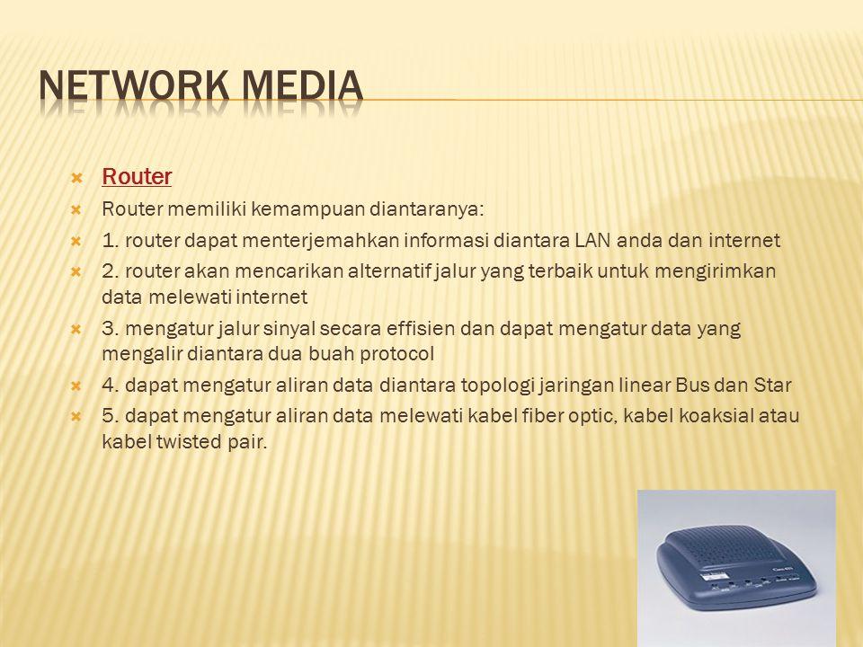Network media Router Router memiliki kemampuan diantaranya: