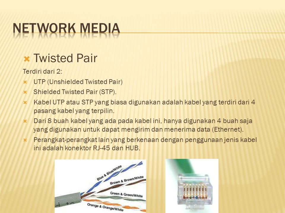 Network media Twisted Pair Terdiri dari 2:
