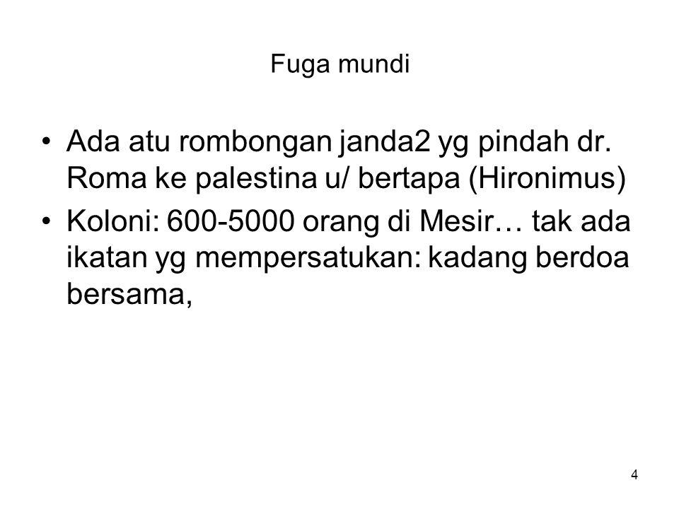 Fuga mundi Ada atu rombongan janda2 yg pindah dr. Roma ke palestina u/ bertapa (Hironimus)