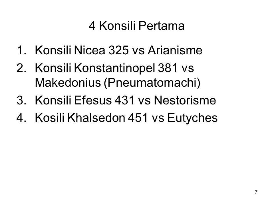 4 Konsili Pertama Konsili Nicea 325 vs Arianisme. Konsili Konstantinopel 381 vs Makedonius (Pneumatomachi)