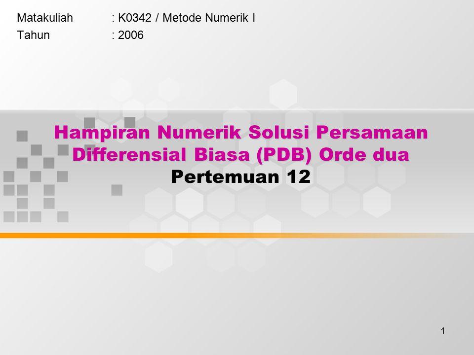 Matakuliah : K0342 / Metode Numerik I Tahun : 2006