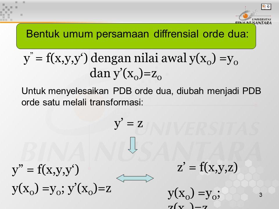 y = f(x,y,y') dengan nilai awal y(x0) =y0 dan y'(x0)=z0