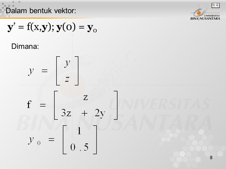 Dalam bentuk vektor: y' = f(x,y); y(0) = y0 Dimana: