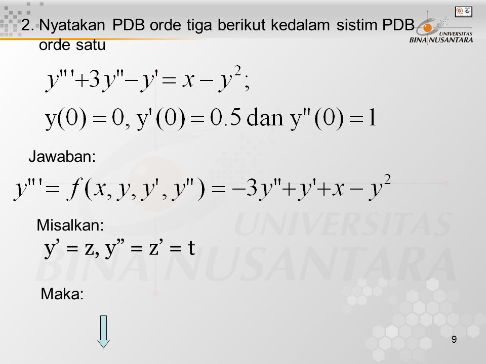 2. Nyatakan PDB orde tiga berikut kedalam sistim PDB