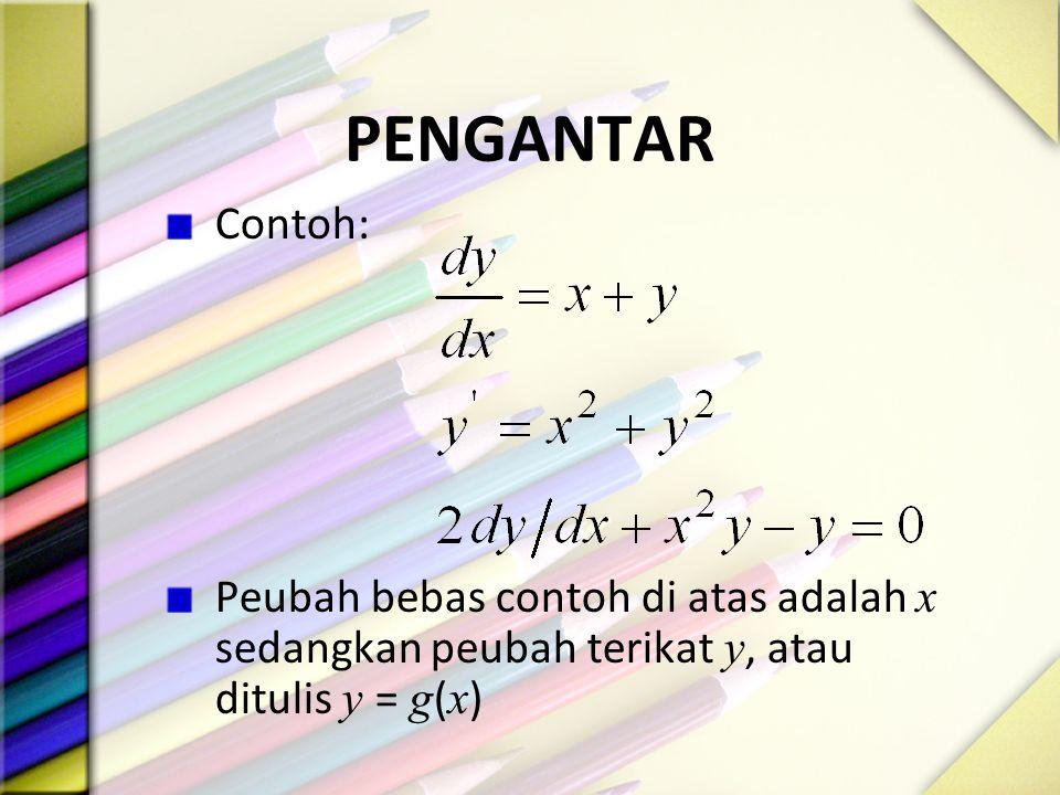 PENGANTAR Contoh: Peubah bebas contoh di atas adalah x sedangkan peubah terikat y, atau ditulis y = g(x)