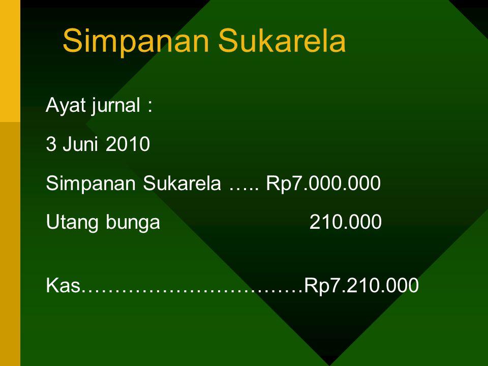 Simpanan Sukarela Ayat jurnal : 3 Juni 2010