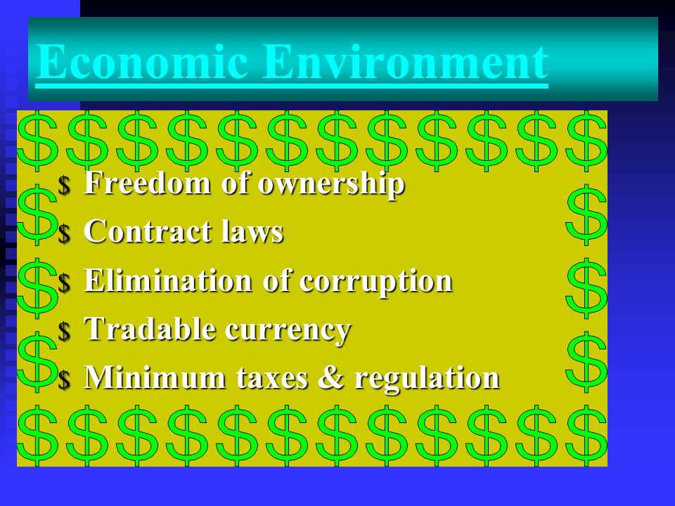 Economic Environment Freedom of ownership Contract laws