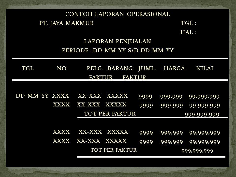CONTOH LAPORAN OPERASIONAL PT. JAYA MAKMUR TGL : HAL :