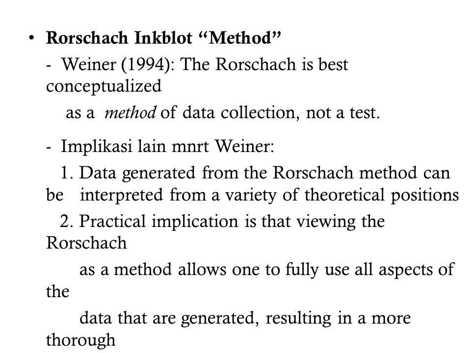 Rorschach Inkblot Method