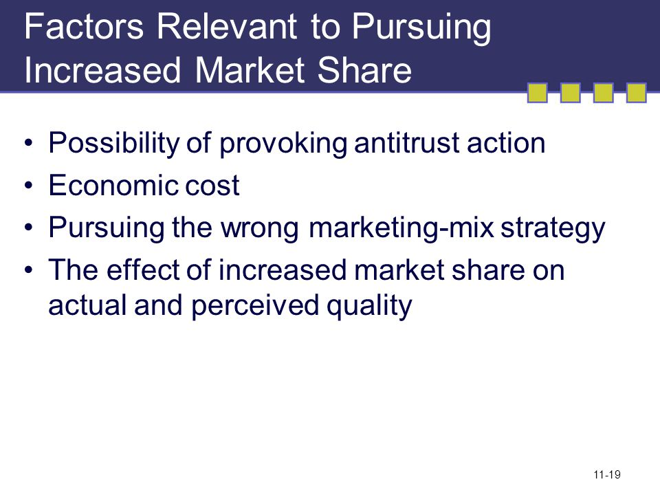 Factors Relevant to Pursuing Increased Market Share