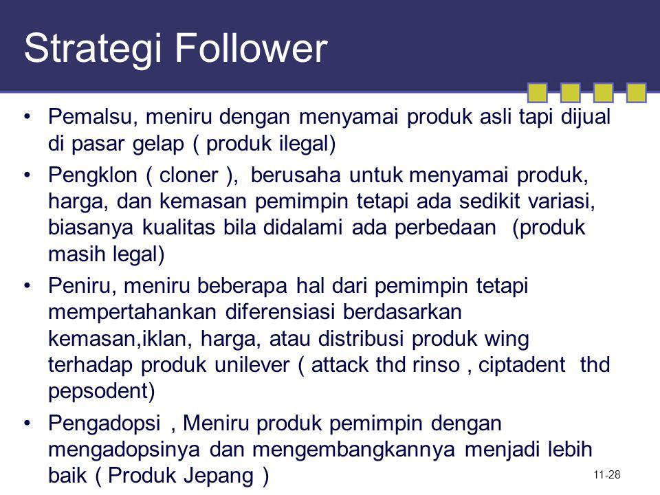 Strategi Follower Pemalsu, meniru dengan menyamai produk asli tapi dijual di pasar gelap ( produk ilegal)