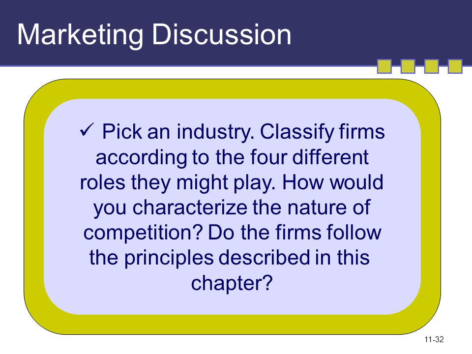 Marketing Discussion Pick an industry. Classify firms