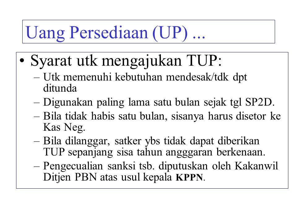 Uang Persediaan (UP) ... Syarat utk mengajukan TUP: