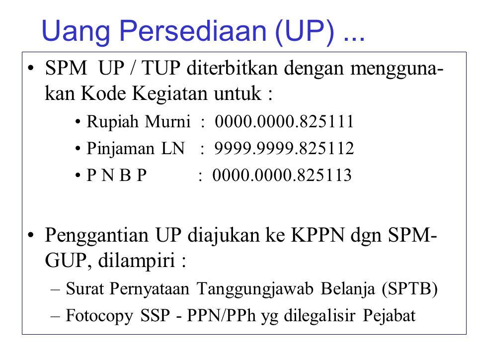 Uang Persediaan (UP) ... SPM UP / TUP diterbitkan dengan mengguna-kan Kode Kegiatan untuk : Rupiah Murni : 0000.0000.825111.