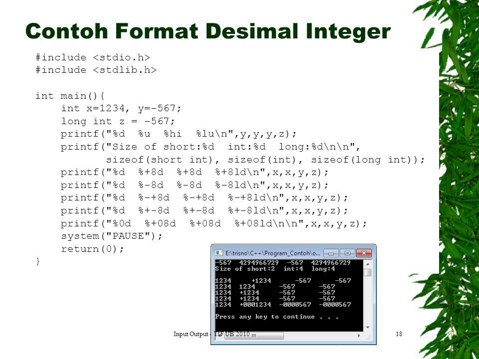 Contoh Format Desimal Integer