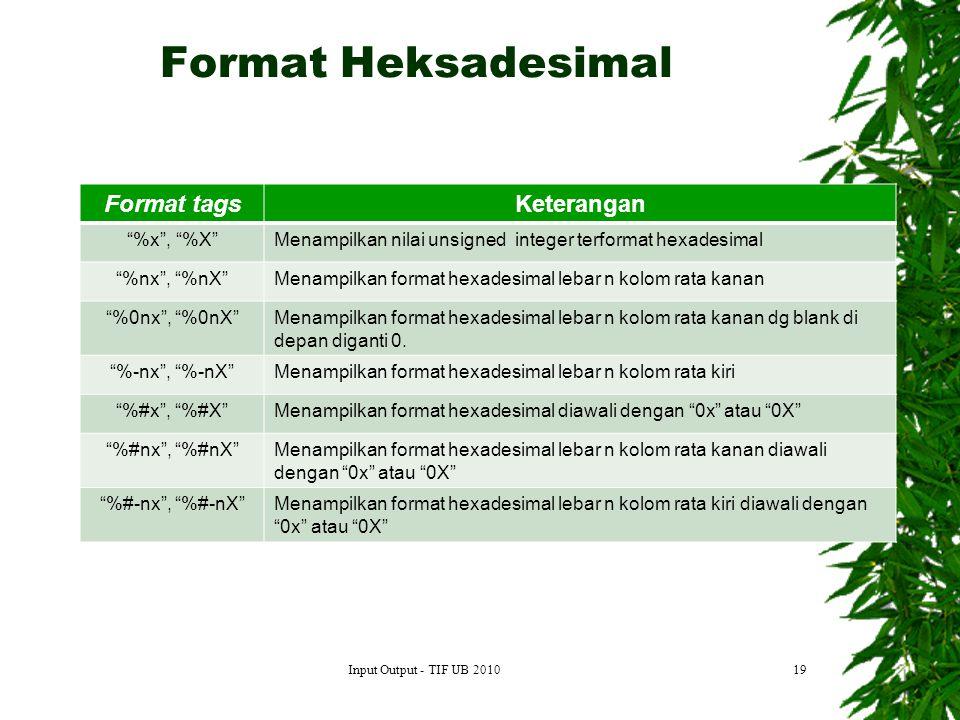 Format Heksadesimal Format tags Keterangan %x , %X