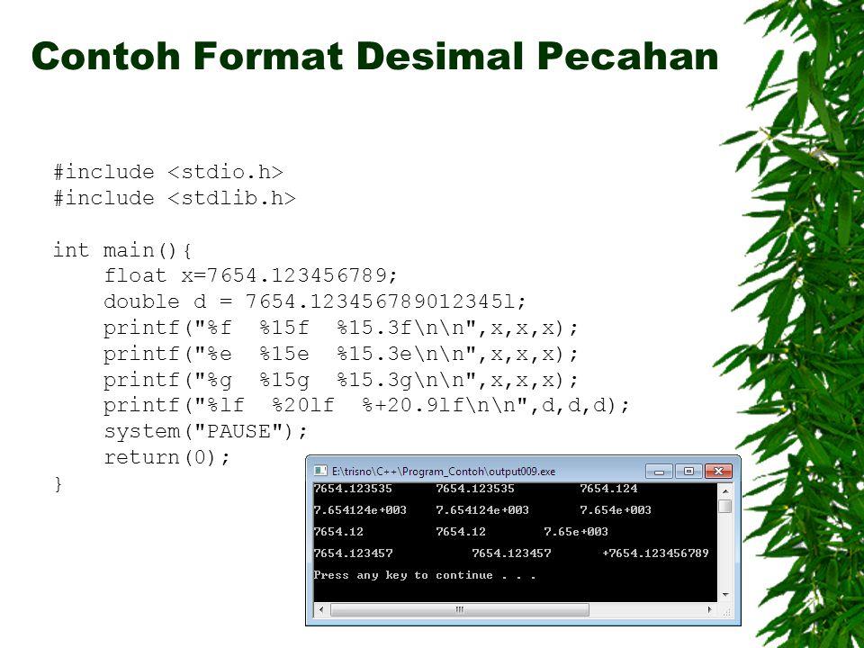 Contoh Format Desimal Pecahan
