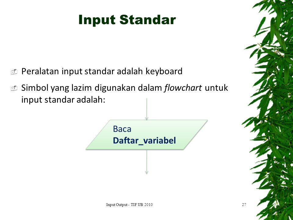 Input Standar Peralatan input standar adalah keyboard