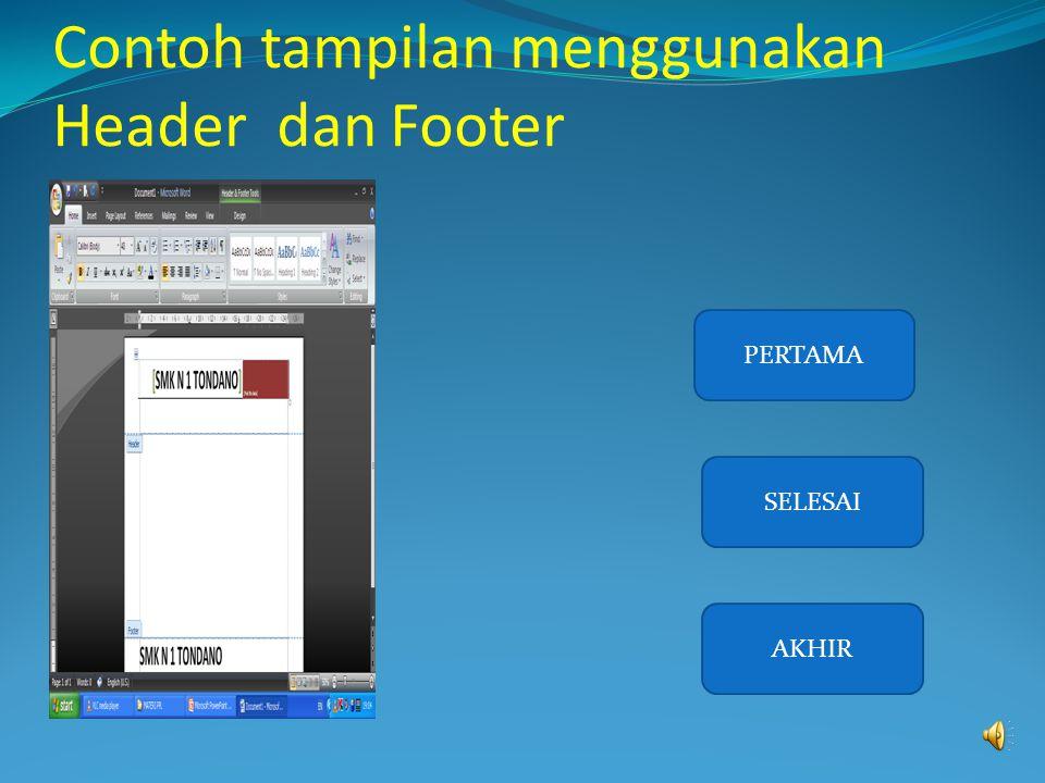 Contoh tampilan menggunakan Header dan Footer
