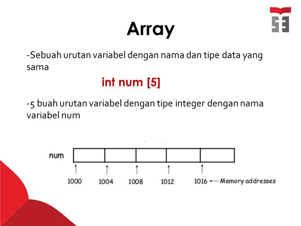 Array Sebuah urutan variabel dengan nama dan tipe data yang sama. 5 buah urutan variabel dengan tipe integer dengan nama variabel num.