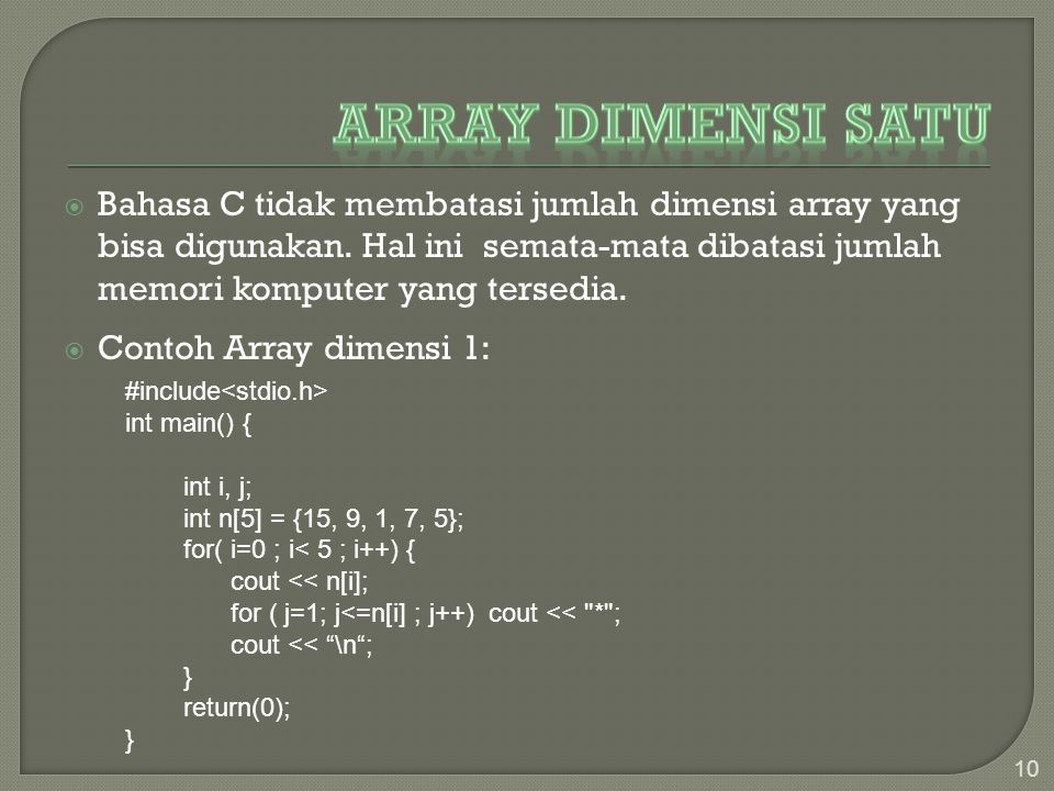 Array Dimensi Satu