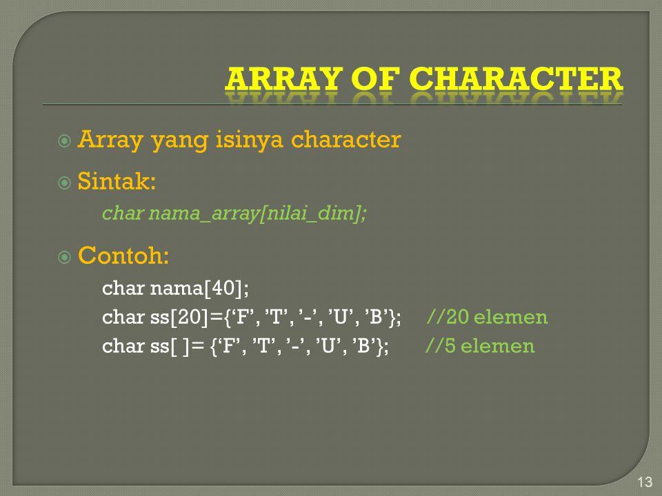 Array of character Array yang isinya character Sintak: Contoh: