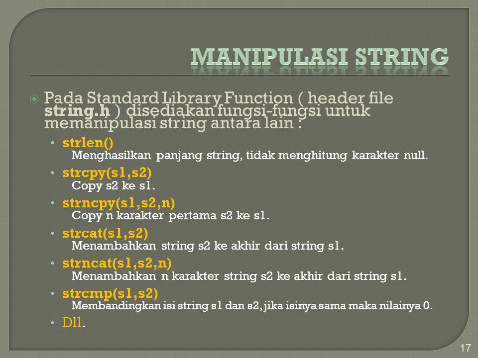 Manipulasi string Pada Standard Library Function ( header file string.h ) disediakan fungsi-fungsi untuk memanipulasi string antara lain :