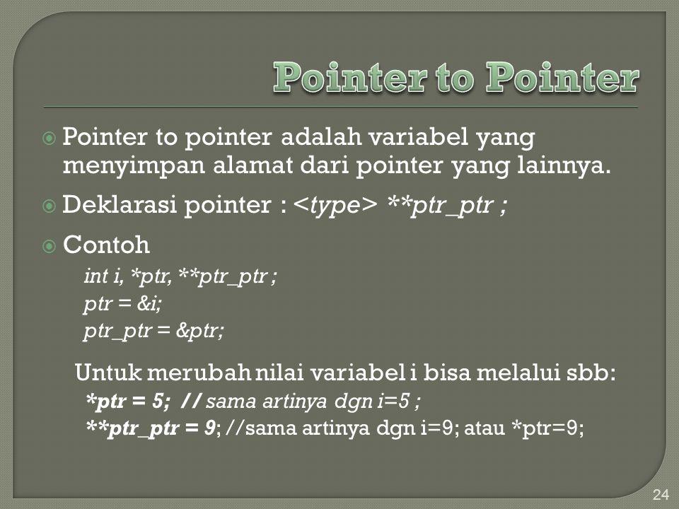 Pointer to Pointer Pointer to pointer adalah variabel yang menyimpan alamat dari pointer yang lainnya.