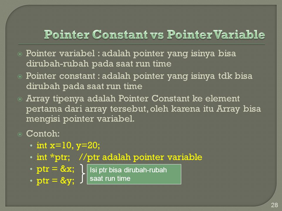 Pointer Constant vs Pointer Variable