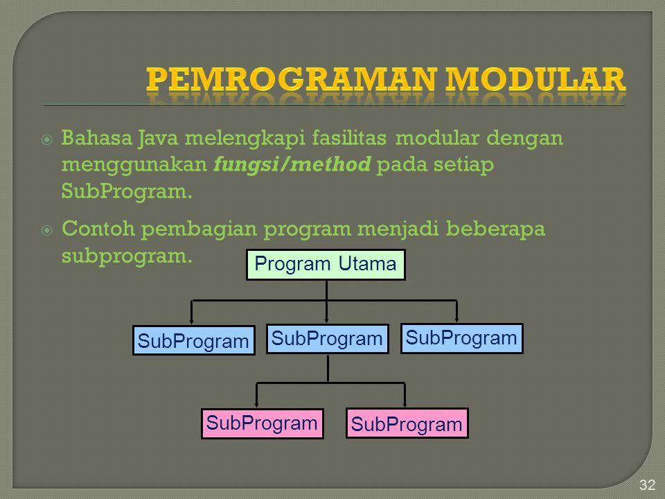 Pemrograman Modular Bahasa Java melengkapi fasilitas modular dengan menggunakan fungsi/method pada setiap SubProgram.