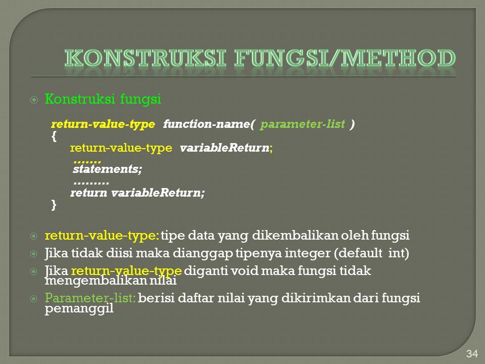 Konstruksi Fungsi/method