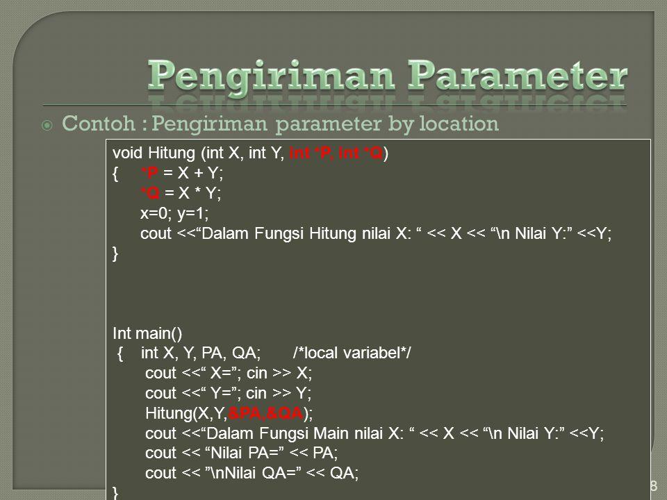 Pengiriman Parameter Contoh : Pengiriman parameter by location