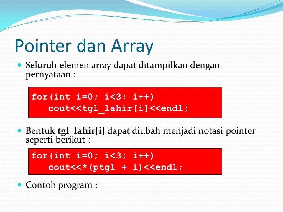 Pointer dan Array Seluruh elemen array dapat ditampilkan dengan pernyataan :