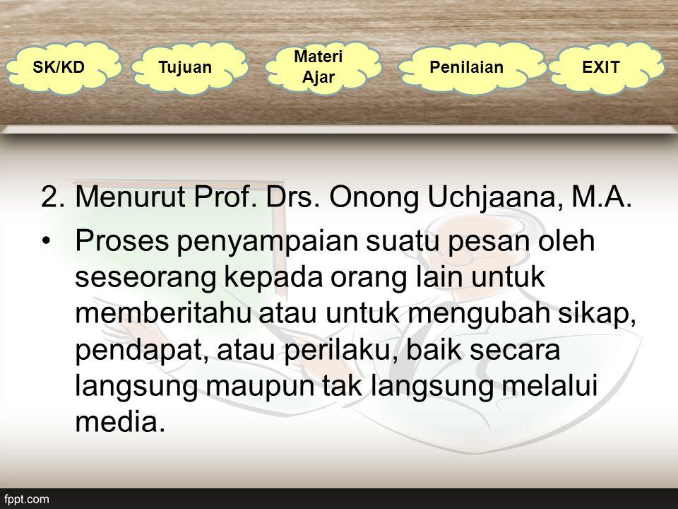 Menurut Prof. Drs. Onong Uchjaana, M.A.