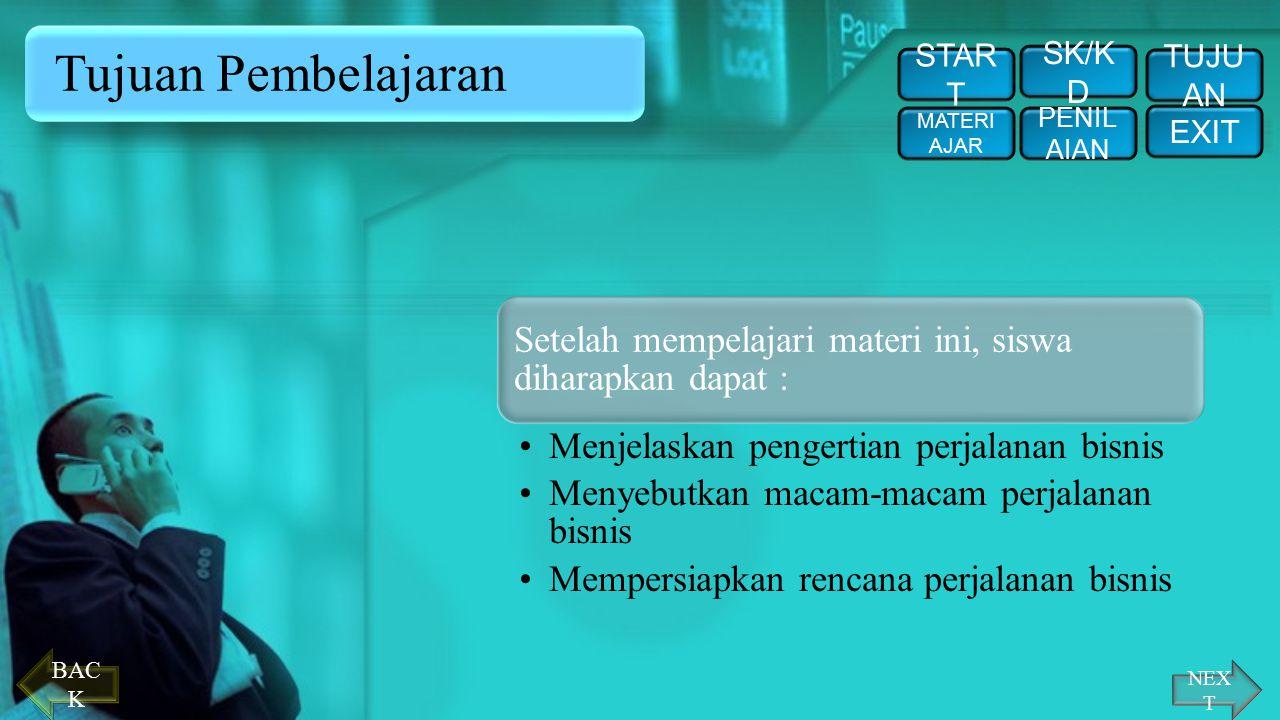 Tujuan Pembelajaran START. SK/KD. TUJUAN. MATERI AJAR. PENILAIAN. EXIT. Setelah mempelajari materi ini, siswa diharapkan dapat :