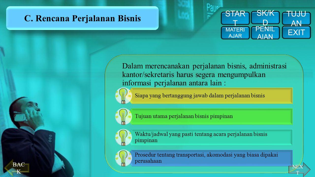 C. Rencana Perjalanan Bisnis