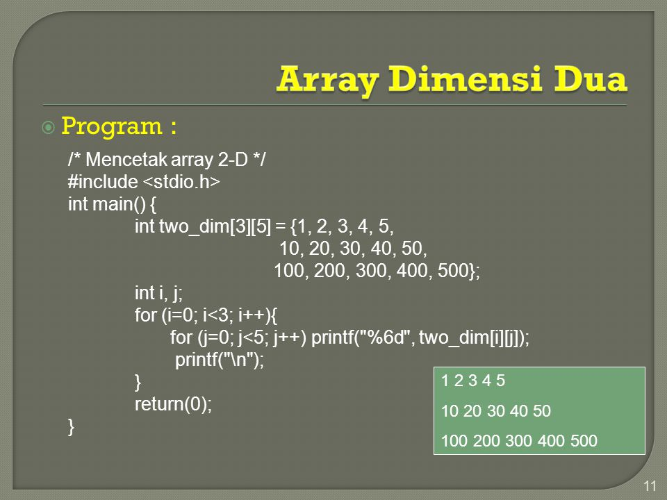 Array Dimensi Dua Program : /* Mencetak array 2-D */