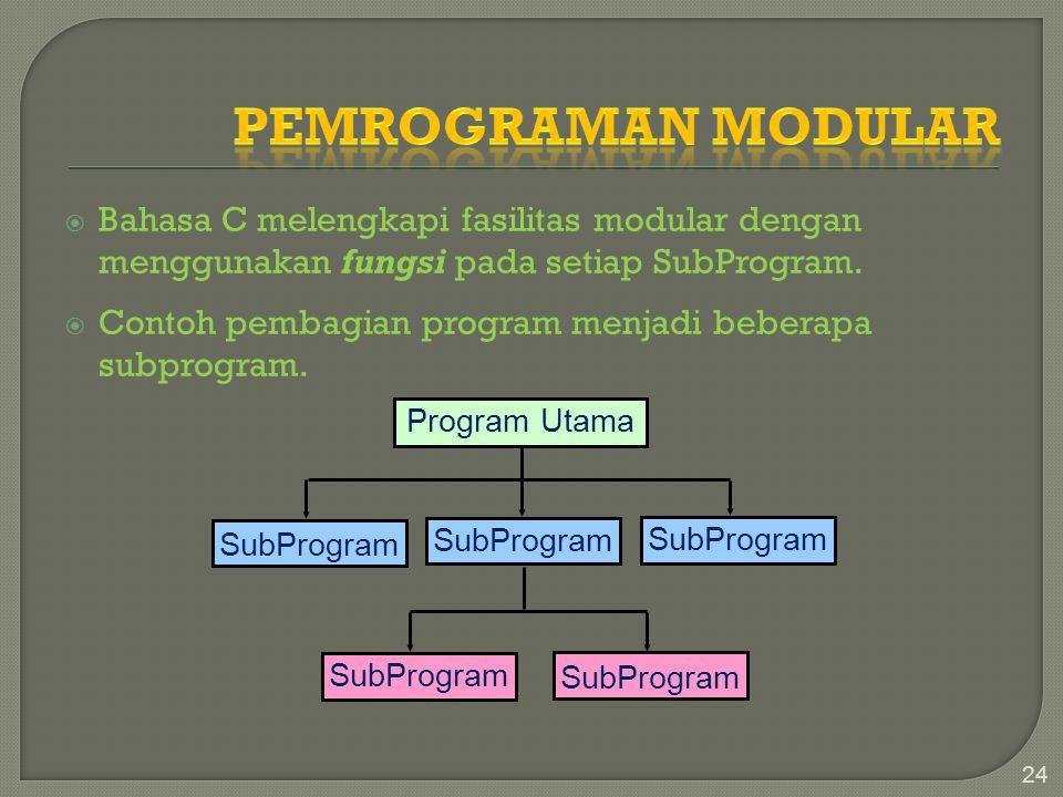 Pemrograman Modular Bahasa C melengkapi fasilitas modular dengan menggunakan fungsi pada setiap SubProgram.