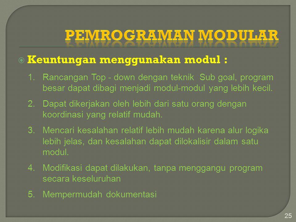 Pemrograman Modular Keuntungan menggunakan modul :