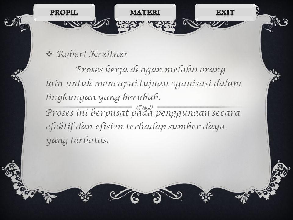 Profil Materi. Exit. Robert Kreitner. Proses kerja dengan melalui orang lain untuk mencapai tujuan oganisasi dalam lingkungan yang berubah.