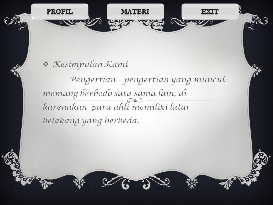 Profil Materi. Exit. Kesimpulan Kami.