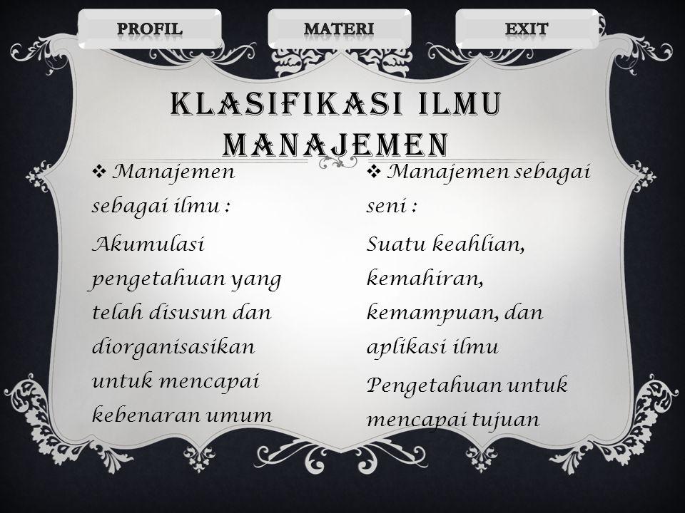 Klasifikasi ilmu manajemen