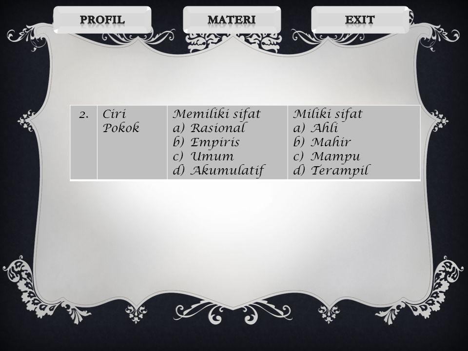 Profil Materi. Exit. 2. Ciri Pokok. Memiliki sifat. Rasional. Empiris. Umum. Akumulatif. Miliki sifat.