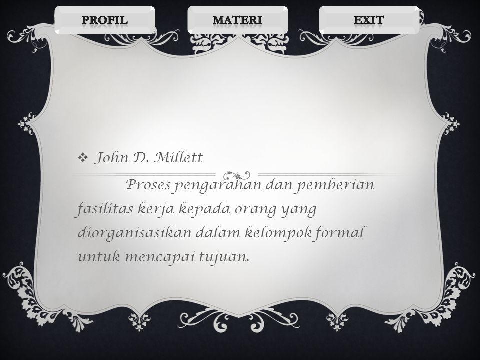 Profil Materi. Exit. John D. Millett.