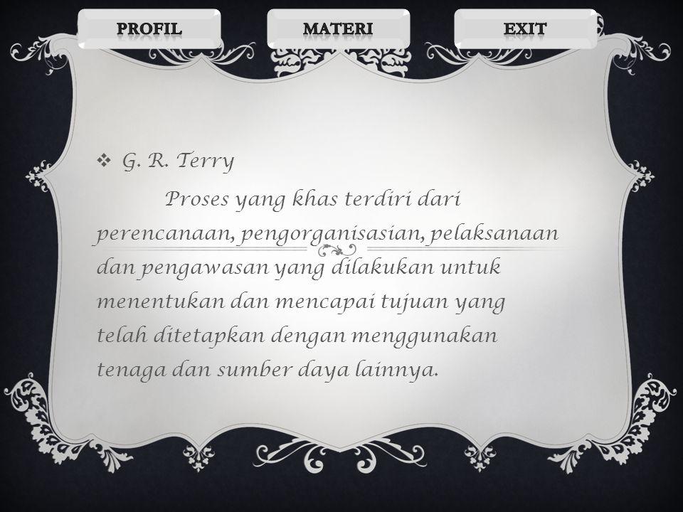 Profil Materi. Exit. G. R. Terry.