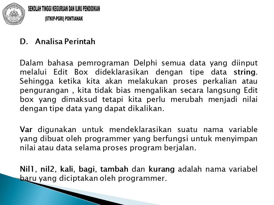 D. Analisa Perintah