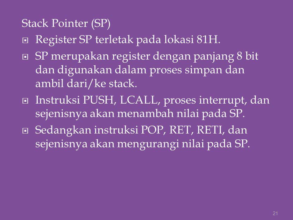Stack Pointer (SP) Register SP terletak pada lokasi 81H.