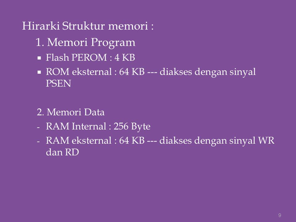 Hirarki Struktur memori : 1. Memori Program